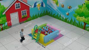 Kod 24105 160cm x 160cm Sünger Top Havuzu Kaydıraklı